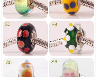 7x14mm Big Hole Bead Silver Copper-nickel 4.5mm Hole Lampwork Glass Bead Design Bead Fit European Charm Bracelets Big Hole Bead DIY Bead