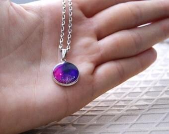 Galaxy Purple Necklace Universe Pendant Nacklace Silver chain Necklace
