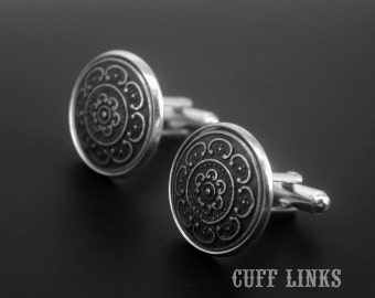 Mens Cufflinks -Floral Cuff Links -Flower Cufflinks -Silver Cufflinks -Wedding Cufflinks
