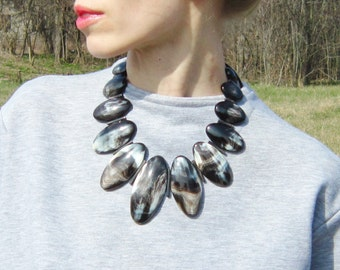 Buffalo Horn Jewelry Necklace Big and Statement, chunky necklace, bib necklace, statement necklace, big necklace, horn necklace AA 028