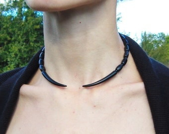 Double Horn Choker Necklace on adjustable memory wire made of natural buffalo horn, tribal jewelry, tribal necklace, african jewelry