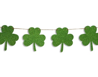 Shamrock glitter garland, St Patricks Day garland, St Patrick's Day shamrock banner, St Patrick's Day decoration, Shamrock Bunting