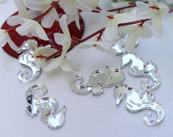 Seahorses Silver Mirror Acrylic PERSONALISED wedding Table Confetti, Scatter Favours