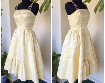 50s vintage buttercup pale yellow dress party prom evening spaghetti straps ruffles floral