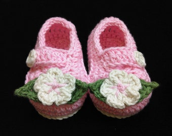 Crocheted Baby Girl Booties - Light Pink with Cream Flower - Made to Order - 2 Sizes Available