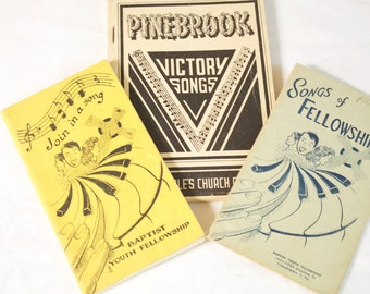 Vintage music song Book set - Songs of Fellowship - Join in a Song - Victory Songs