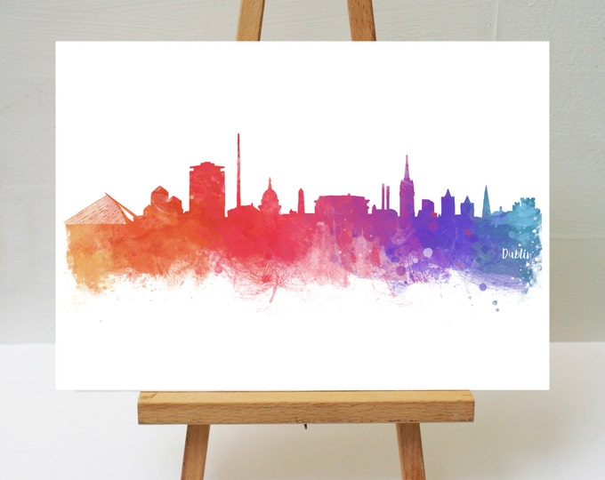 Featured listing image: Watercolour Art Print Dublin Skyline 05