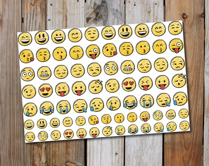 Smiley Face Hand Drawn effect Planner Stickers (76 Stickers)