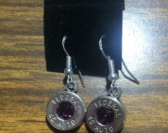Bullet Earrings / .45 auto Dangle earrings / Swarovski Amethyst Crystal