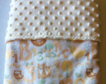 Crib Blanket-Gender Neutral-Minky and Flannel- Baby Blanket-
