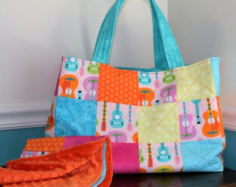 Baby Gift Set, Quilted Diaper Bag and Car Seat Blanket