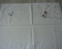 French Vintage babies  white embroidered  pillowcase  (01740)