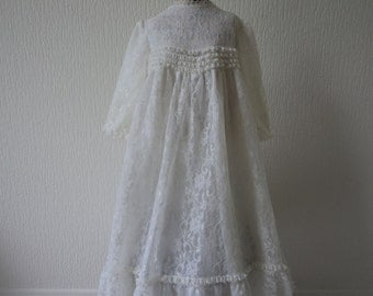 French vintage heirloom lace christening gown  (02381)