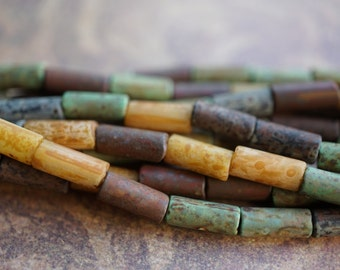 Rustic Tubes, Picasso Tube Mix, Czech Beads, N1939