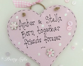 Personalised handmade twins born together friends forever keepsake heart plaque gift