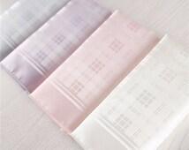white silk pocket squares.silk blue hankies.pink purple silk scarves.wedding accessories.ties pocket sqaures.gift boxed hankies for guys+ps1