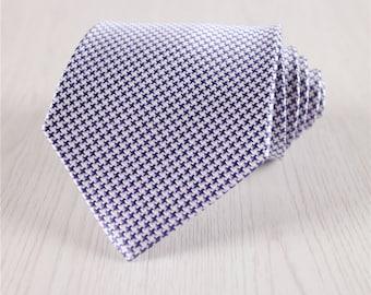 silk tie for wedding.blue necktie.houndstooth ties.dogstooth check necktie.wide ties for business.adult's necktie.silk accessories+nt.19s