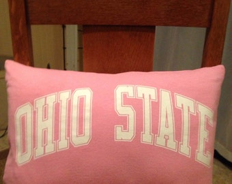 Ohio state pink pillow