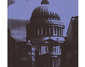 Indigo St Paul's Cathedral, London print. London art. Wall art. London postcards. Indigo prints. A2, A3 prints. Office art. FREE UK postage