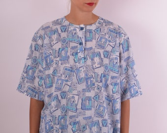 Vintage Blouse With Cards Printed (519)