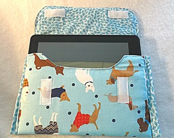 E-Reader or Tablet Padded Carrying Case, Dog Lovers, Velcro Closure, Blue, Free Shipping