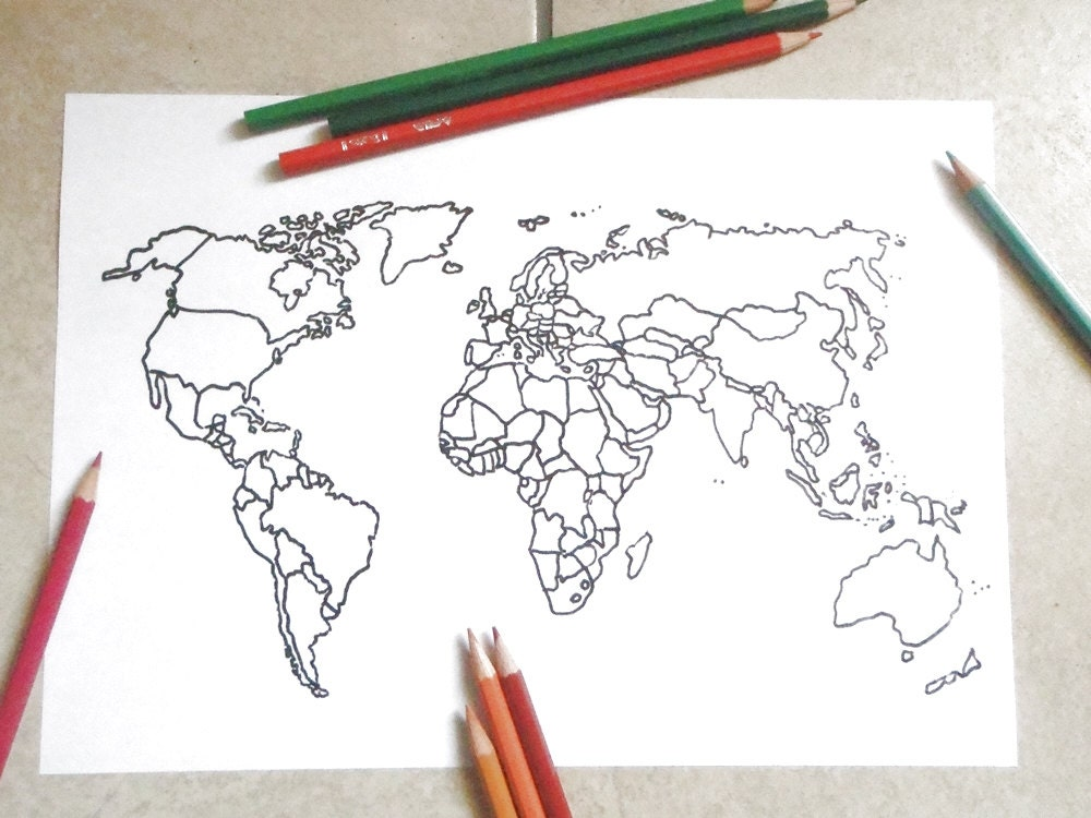 Blank map world coloring template etsy sales journaling adult zoom sciox Images