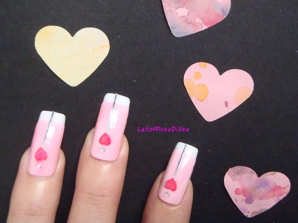 french manicure set unghie rosa cuore 3d strass di lasoffittadiste. Black Bedroom Furniture Sets. Home Design Ideas
