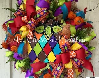 Burlap wreath fall wreath pumpkin wreath turquoise fall wreath deco mesh wreath harlequin wreath