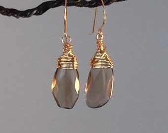 Smokey Quartz Earrings, brown, gold, dangle, drop, wire wrap, brown quartz, handmade earrings,
