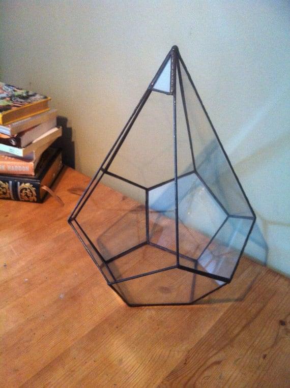 Geometric glass terrarium large teardrop terrarium wedding for Indoor gardening glasses
