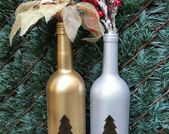 Christmas Wine Bottles. Christmas Tree Wine Bottles. Holiday Wine Bottles. Glitter Wine Bottles. Christmas Glitter Wine Bottles.