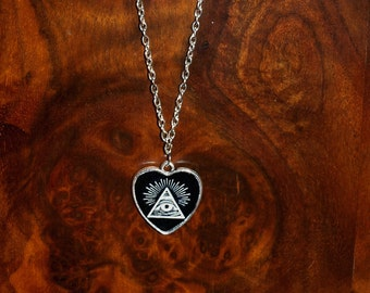All seeing eye heart shaped pendant necklace