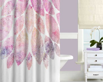 Pink Shower Curtain, Floral Shower Curtain, Modern Bath Curtain, Pink  Bathroom Decor,