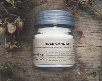 Rose Garden Scented - Soy Candle- Artisanal Small Batch Hand Poured Made in New England Soy Candle