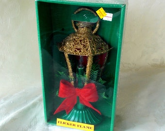 Vintage Christmas Electric Lantern Decoration, New In Box