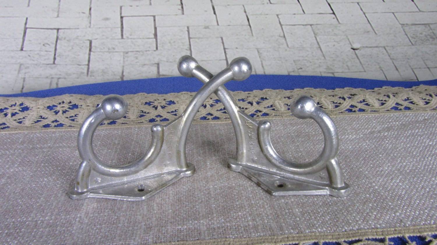 2 Huge Wall Rack Hooks USSR 1970s, Soviet Vintage Huge Aluminium Clothes Hook, C