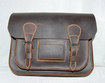 Leather satchel  waxed bullhide