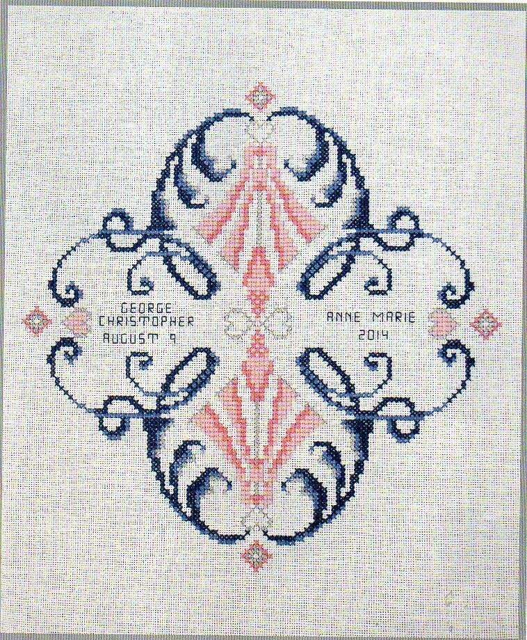 Wedding sampler mr and mrs cross stitch pattern bride
