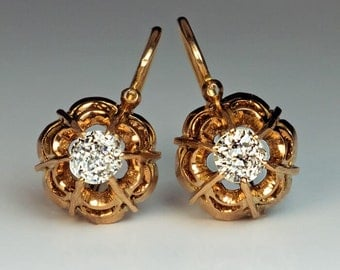 Antique Victorian Era Old Mine Diamond Gold Openwork Earrings