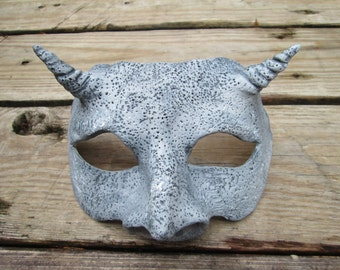 Gargoyle mask, masquerade mask, larp, made to order, custom colors, costume mask, horned mask