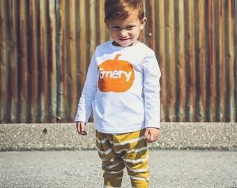 Personalized Pumpkin Shirt for Kids - Kids Halloween Shirt - Fall Kids Outfit - Pumpkin Patch Picture - Baby Shower Gift - Pumpkin Shirt