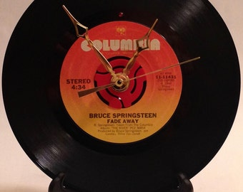 "Recycled BRUCE SPRINGSTEEN 7"" Record • Song: Fade Away • Record Clock"