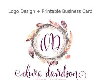 Premade Logo Design, Watercolor Flower and Arrow Logo, Boho Chic Logo, Small Business Logo, Printable Business Card