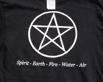 Pentacle t-shirt , pentagram t-shirt , pagan design t-shirt with elements