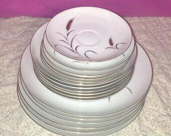 Antique CTSI Eternal Harvest Wheat Dishes 19-Pc Set Plates Soup Bowls Saucer EUC
