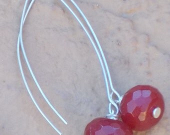 Faceted Cranberry Red Jade and Sterling Silver Drop Earring...Light Weight and Lovely!