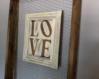 Rustic LOVE sign Repurposed cabinet door available in Cream or White