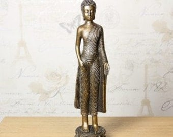 Aged Bronzed Standing Buddha Sculpture Statue  - Manufactured in Resin. 337895