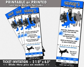 Hip Hop Ticket Invitation, Printable with Printed Option, Birthday Party, Hip Hop Invites, Dance Theme, Child or Adult