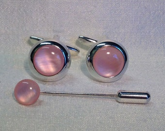 Pink Mother of Pearl Cufflinks in a Silver finish. Matching Tie Pin optional.